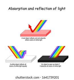 Color light Absorption and reflection. A red object reflects red and absorbs others colors of visible light. A white - reflects waves all colors. black - absorbs all colors of visible light