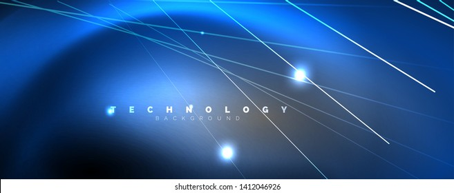 Color light with lines, outer space background, bright rays, vector template
