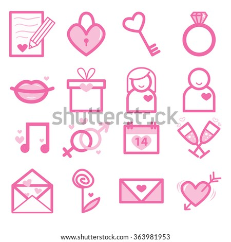 4537083d8f01 Color - light pink set of St.Valentine and love icons on transparent  background