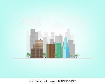 Line Art City : Color line art city landscape on stock vector