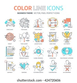 Color line, business illustrations, icons, backgrounds and graphics.