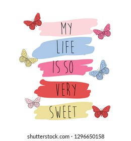 color line butterfly black text girl tee illustration art vector