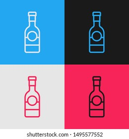 Color line Champagne bottle icon isolated on color background. Vintage style drawing. Vector Illustration
