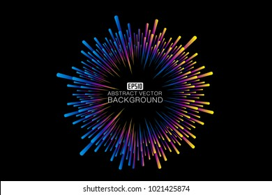 Color line composition of radial abstract pattern background