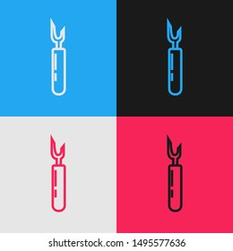 Color line Cutter tool icon isolated on color background. Sewing knife with blade. Vintage style drawing. Vector Illustration
