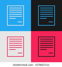 Color line Document icon isolated on color background. File icon. Checklist icon. Business concept. Vintage style drawing. Vector Illustration