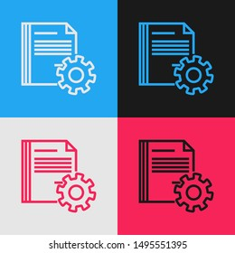 Color line Document settings with gears icon isolated on color background. Software update, transfer protocol, teamwork tool management. Vintage style drawing. Vector Illustration