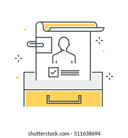 Color line, employee info illustration, icon, background and graphics. The illustration is colorful, flat, vector, pixel perfect, suitable for web and print. It is linear stokes and fills.