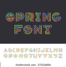 Color line geometrical latin font, bright graphical decorative colorful type.