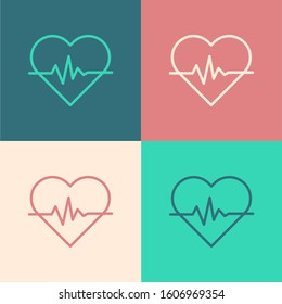 Color line Heart rate icon isolated on color background. Heartbeat sign. Heart pulse icon. Cardiogram icon.  Vector Illustration