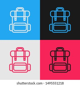 Color line Hiking backpack icon isolated on color background. Camping and mountain exploring backpack. Vintage style drawing. Vector Illustration