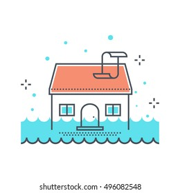 Color line, house flood concept illustration, icon, background and graphics. The illustration is colorful, flat, vector, pixel perfect, suitable for web and print. It is linear stokes and fills.