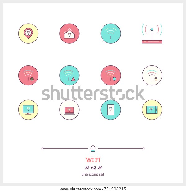 Color line icon set of wifi, internet objects and tools elements. Basic web tools for webpage, wifi. Logo icons vector illustration