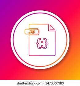 Color line JS file document. Download js button icon isolated on color background. JS file symbol. Circle white button. Vector Illustration