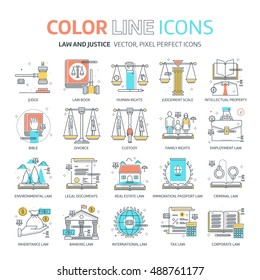 Color line, law illustrations, icons, backgrounds and graphics. The illustration is colorful, flat, vector, pixel perfect, suitable for web and print. It is linear stokes and fills.