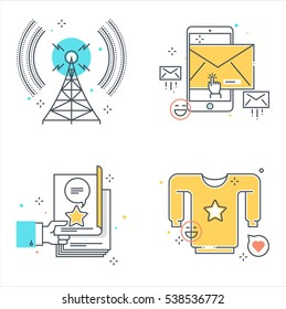 Color line, marketing concept illustrations, icons, backgrounds and graphics. The illustration is colorful, flat, vector, pixel perfect, suitable for web and print. It is linear stokes and fills.