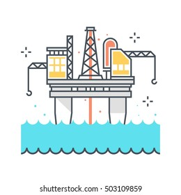 Color line, offshore platform illustration, icon, background and graphics. The illustration is colorful, flat, vector, pixel perfect, suitable for web and print. It is linear stokes and fills.