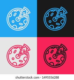 Color line Pizza icon isolated on color background. Fast food menu. Vintage style drawing. Vector Illustration