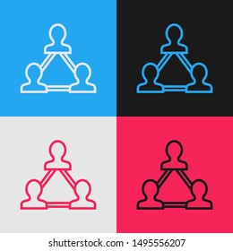 Color line Project team base icon isolated on color background. Business analysis and planning, consulting, team work, project management. Developers. Vintage style drawing. Vector Illustration
