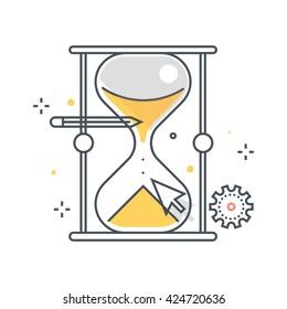 Color line, sand timer illustration