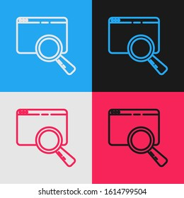 Color line Search in a browser window icon isolated on color background. Vintage style drawing. Vector Illustration