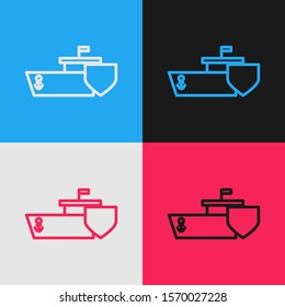 Color line Ship with shield icon isolated on color background. Insurance concept. Security, safety, protection, protect concept. Vintage style drawing. Vector Illustration