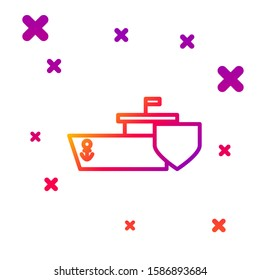 Color line Ship with shield icon isolated on white background. Insurance concept. Security, safety, protection, protect concept. Gradient random dynamic shapes. Vector Illustration