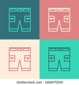 Color line Short or pants icon isolated on color background.  Vector Illustration