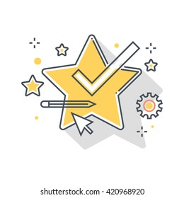 Color line, star features concept illustration, icon, background and graphics. The illustration is colorful, flat, vector, pixel perfect, suitable for web and print. It is linear stokes and fills.