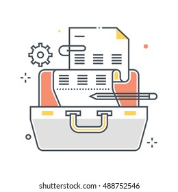 Color line, suitcase illustration, icon, background and graphics. The illustration is colorful, flat, vector, pixel perfect, suitable for web and print. Linear stokes and fills.