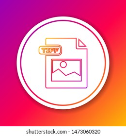 Color line TIFF file document. Download tiff button icon isolated on color background. TIFF file symbol. Circle white button. Vector Illustration