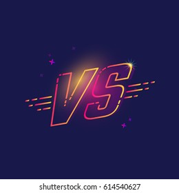 Color line versus logo VS letters for competition. Vector illustration