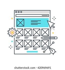 Color line, wireframe, responsive concept illustration, icon, background and graphics. The illustration is colorful, flat, vector, pixel perfect, suitable for web and print. It is  stokes and fills.