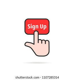 color linear sign up with hand. cartoon style trend modern logotype graphic art design element isolated on white background. concept of signup on homepage or personal page and subscribe membership
