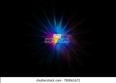 Color lines make up the abstract vector background of luminous radial