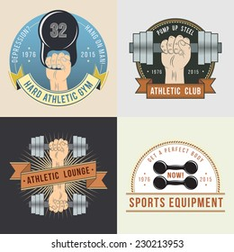Color logo for the sports hall or shop. Coat of Arms for the gym. Hand with dumbbells and weights.