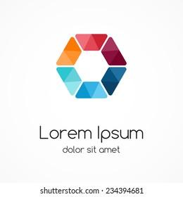 Color logo template. Design hexagon element, sign, symbol.