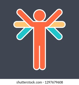 Color logotype mans figure with many hands or wings created in flat style. The design graphic element is saved as a vector illustration in the EPS file format.