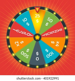 Color lucky wheel template. Fortune, winner game, money casino,amount. Vector illustration