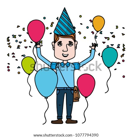 Color Man Celebrating Happy Birthday With Balloons And Hat