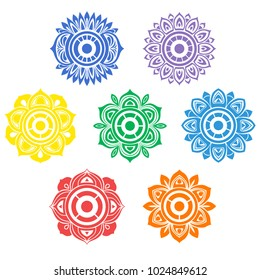Color mandalas on the human chakra, seven main centers. Yoga, esoteric and meditation.