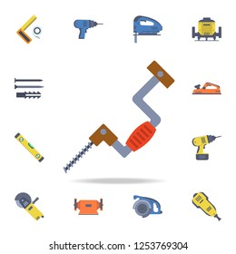 color manual mechanical drill icon. Detailed set of color construction tools. Premium graphic design. One of the collection icons for websites, web design, mobile app