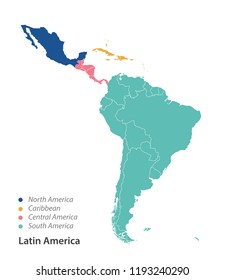 Color Map of Latin America.