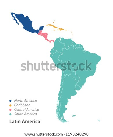 Color Map Of North America.Color Map Latin America Stock Vector Royalty Free 1193240290