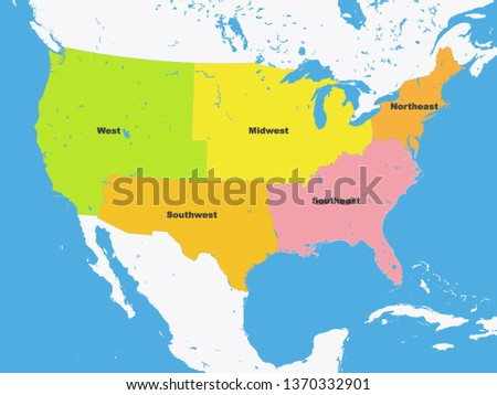 Color Map Regions United States America Stock Vector (Royalty Free ...