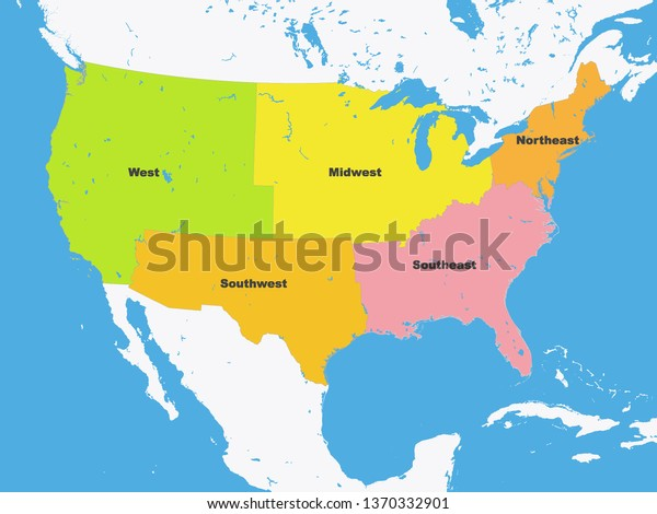 Color Map Regions United States America Stock Vector (Royalty Free on