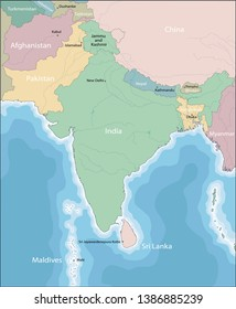 Color map of South Asia divided by the countries