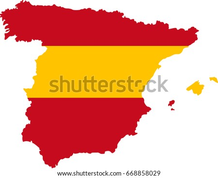 Map Of Spain To Color.Color Map Spain Spanish Flag Vector Stock Vector Royalty Free
