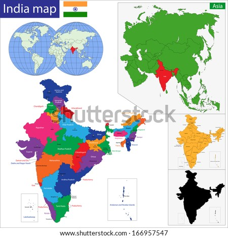 Color Map Western Asia Divided By Stock Vector (Royalty Free ...