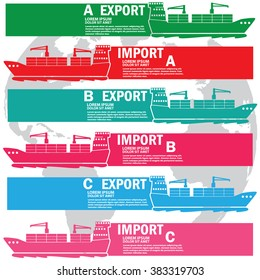 Color marine cargo ship bound for export and import goods, add text to complete. Vector style